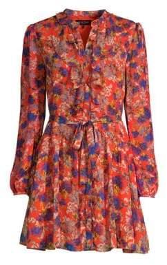 Saloni Women's Tilly Ruffle Floral Mini Dress - Flame Azalea - Size 8