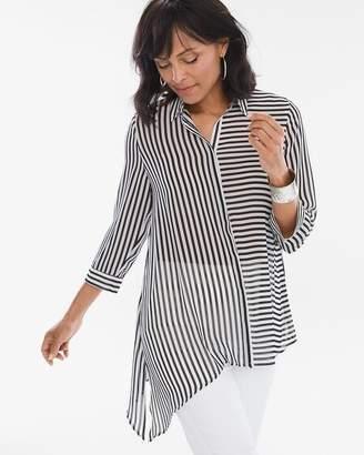 Chico's Chicos Striped Asymmetrical Hem Shirt