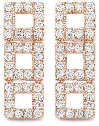 DANA REBECCA 14K Rose Gold Diamond Accented Allison Joy 3 Square Bar Earrings - 0.26 ctw