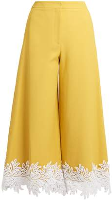 Sara Battaglia Macramé lace-trimmed twill culottes