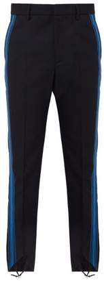 Stella McCartney Striped Mid Rise Wool Stirrup Trousers - Mens - Dark Blue