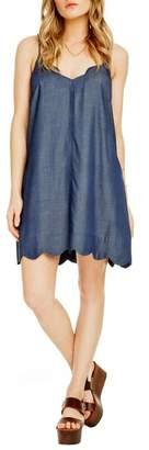 Astr Scalloped Chambray Dress