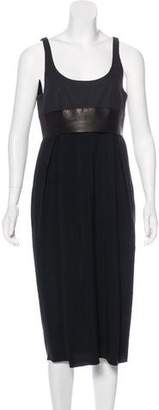 Celine Leather-Trimmed Sleeveless Dress