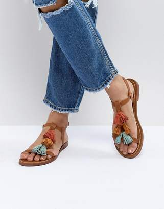 Pull&Bear multi tassle sandal in multi