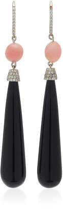 """Susan Foster 18K White Gold"""" Conch Pearl and Diamond Earrings"""