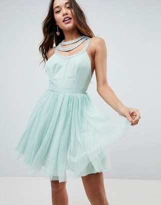 Asos Embellished Trim Tulle Mini Dress