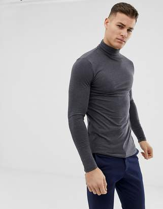 Asos Design DESIGN muscle fit long sleeve t-shirt with roll neck in charcoal marl