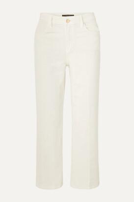 J Brand Joan Cropped Cotton-blend Corduroy Wide-leg Pants - White