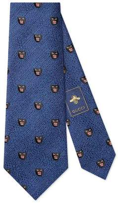 Gucci Panthers silk wool tie