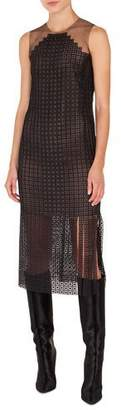 Akris Halter-Illusion Sleeveless Metal-Stud Embroidered Dress w/ Carwash Sides