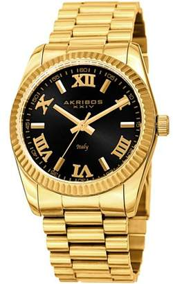 Akribos XXIV Gold Tone Dress Quartz Watch With Stainless Steel Strap [AK1034YGBK]