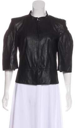 Fendi Three-Quarter Sleeve Leather Jacket