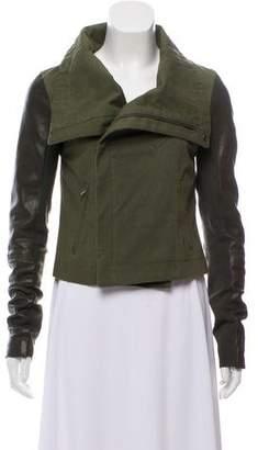 Veda Leather Trimmed Moto Jacket