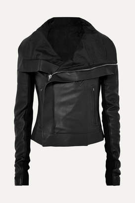 Rick Owens Ribbed Wool-paneled Leather Biker Jacket - Black