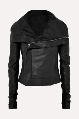 Rick Owens Ribbed Wool-paneled Leather Biker Jacket - Black
