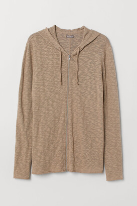 H&M Hooded jacket with raw edges - Beige