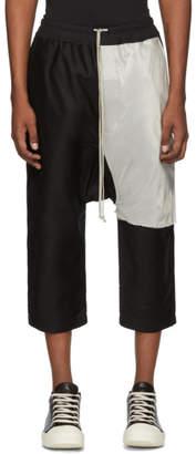Rick Owens Black Combo Drawstring Cropped Lounge Pants