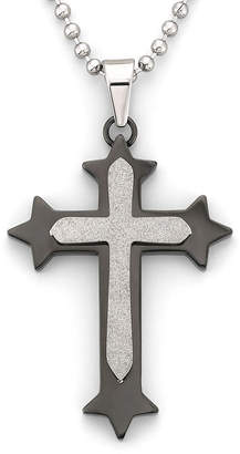 JCPenney FINE JEWELRY Mens Cross Pendant Necklace Stainless Steel