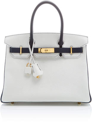 Hermes Heritage Auctions Special Collections 30cm White and Blue Nuit Clemence Leather Special Order Horseshoe Birkin