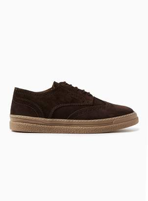 Topman Brown Suede Vesper Brogue Shoes