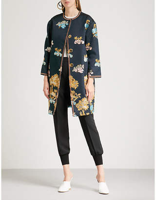 Peter Pilotto Metallic floral-jacquard coat