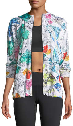 Mosaic-Print Zip-Front Hooded Performance Jacket