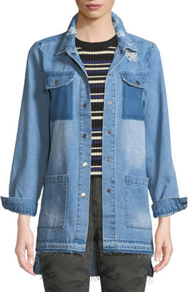 Etienne Marcel Distressed Snap-Front Denim Shirt
