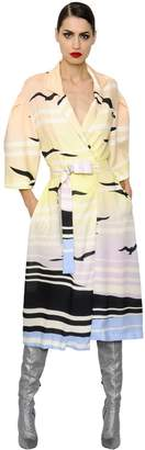 DANIELE CARLOTTA Printed Light Viscose Pinpoint Coat