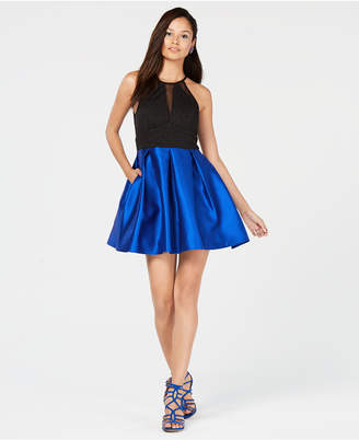 Teeze Me Juniors' Glitter Fit & Flare Dress