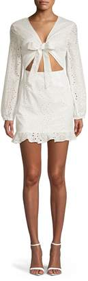 Missguided Embroidered Tie-Front Mini Dress