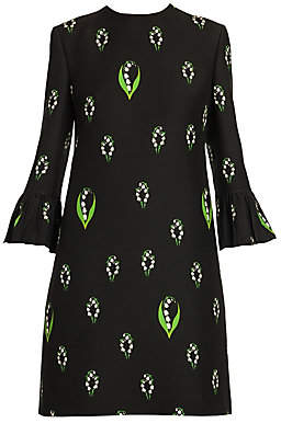 Valentino Women's Lily Of The Valley Bell Sleeve Shift Dress