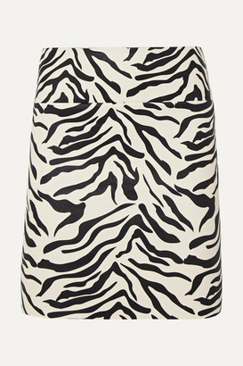 Sprwmn Zebra-print Leather Mini Skirt