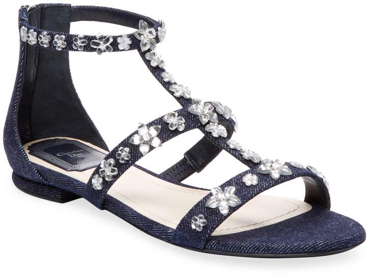 Dior Women's Flat Denim Strap Sandal