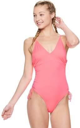 Juniors' California Sunshine Drawstring One-Piece Swimsuit