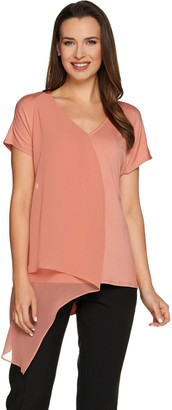 Halston H By H by Knit Top with Chiffon Cascade Front Overlay
