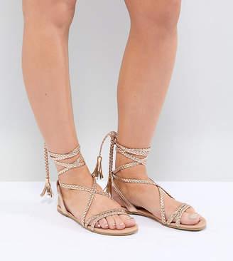 Asos DESIGN Fayla Wide Fit Tie Leg Plaited Sandals