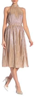 J.o.a. Champagne Metallic Pleated Midi Skirt