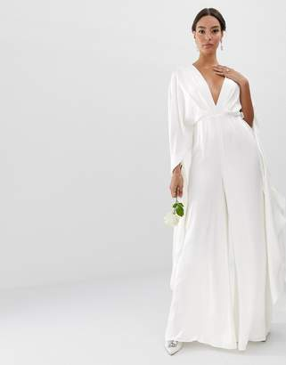 fb9465771b8692 Asos Edition EDITION Cape Sleeve Wedding Jumpsuit in Satin