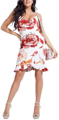GUESS Juleah Ruffled-Hem Belted Dress