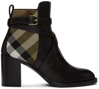 Burberry Black & Beige Check Vaughan 70 Ankle Boots