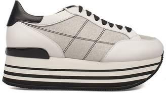 Hogan White/black H283 Maxi 222 Wedge Sneakers