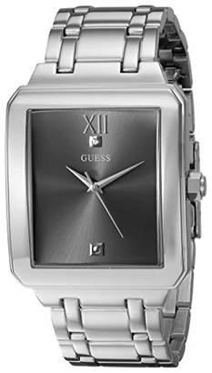 GUESS Men's Stainless Steel Diamond Dial Rectangular Watch