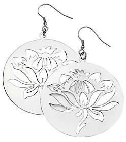 Steel by Design Stainless Steel Floral Disc Dangle Earrings