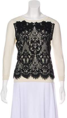 Diane von Furstenberg Lace-Accented Knit Sweater