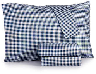 Jla Home Gingham Cotton Percale 180 Thread Count 4-Pc. Full Sheet Set Bedding