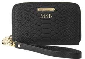 GiGi New York Personalized Python-Embossed Leather Phone Wristlet