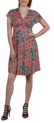 24/7 Comfort Apparel Women's Allie Short Sleeve Empire Waist Coral Pink Mini Dress