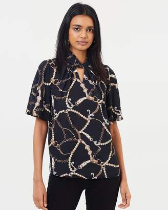 Dorothy Perkins Chain Print Twist Neck Top