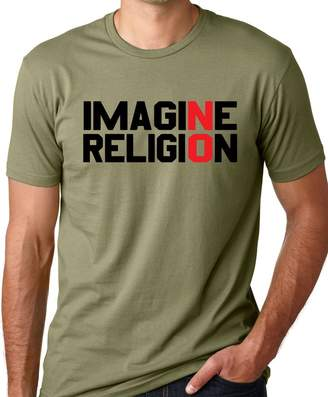 Think Out Loud Apparel Imagine No Religion Atheist T-Shirt Free Thinker Tee S
