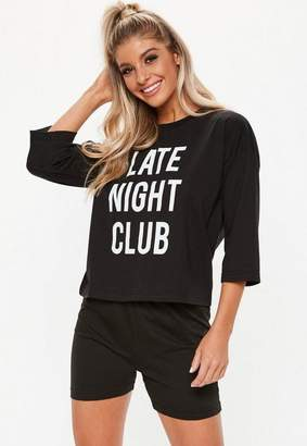 fe5ed8181d Missguided Black Late Night Club Cycling Short Pyjama Set